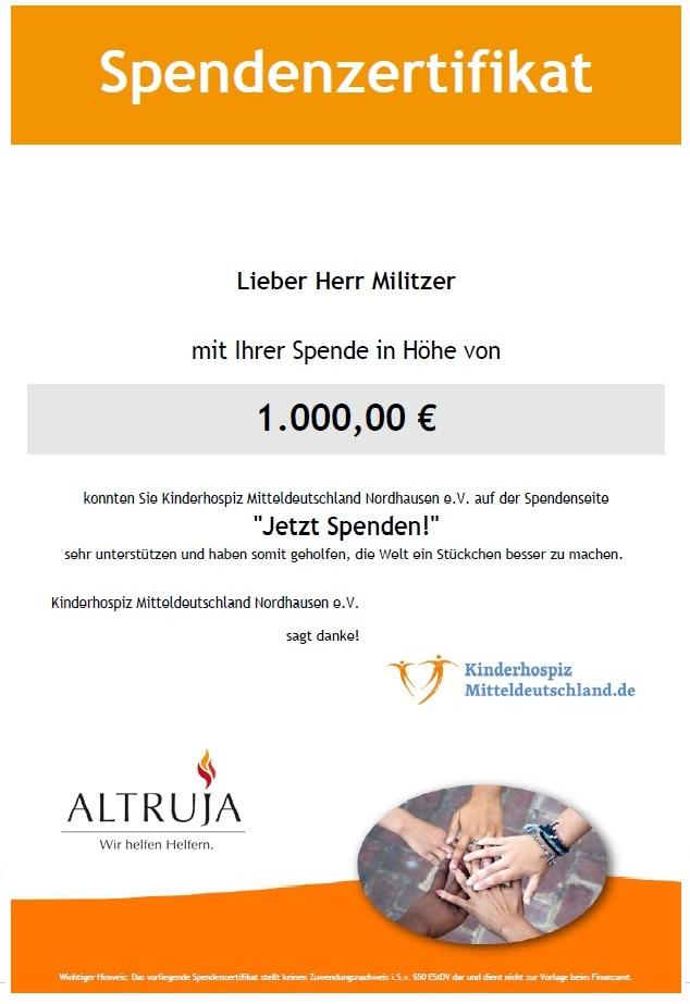 Spende an das Kinderhospitz Mitteldeutschland